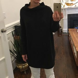 Free People Black CowlNeck Tunic Oversized Sweater