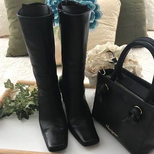Charles David Leather Mid Calf Boots