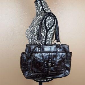 🌺 Nine West Dark Brown Faux Leather Handbag