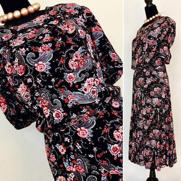 Vintage 80s Plus Paisley Floral Secretary Dress