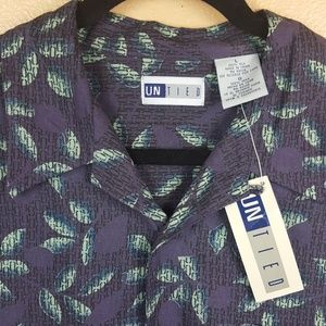 NWT Mens 100% Silk Purple Print Shirt Size Large