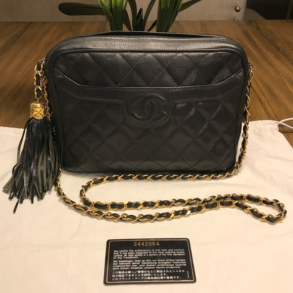1e79326c1b5daf CHANEL Handbags - Chanel Vintage Quilted CC Camera Bag with Tassel