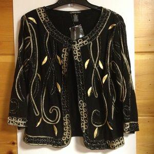 Lauren Michelle black gold cardigan medium new