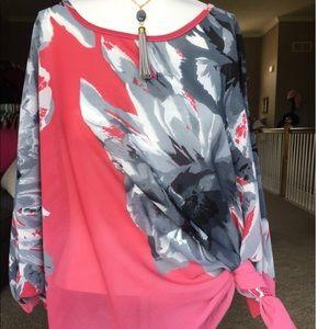 HP🎉Poppy Petals Btq Pink & Gray Sheer Blouse
