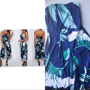 Pants - Navy-Blue  Leaf Print Strapless Jumpsuit