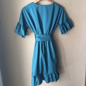 Dresses - Jade Green Ruffled Wrap Dress