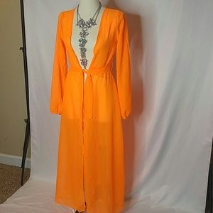 Other - *Sold on eBay* Long sheer orange swimsuit cover up