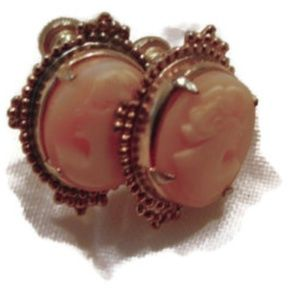Carved shell cameo screw on earrings