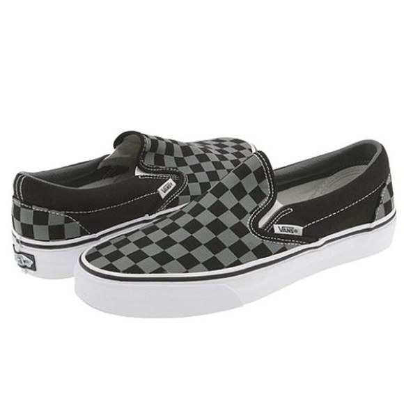 Men's Slide on Vans Black & Gray Checkered