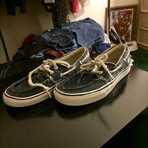 Navy Blue men's Vans boat shoes size 7