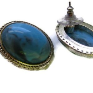 Genuine stone pierced earrings turquoise or agate