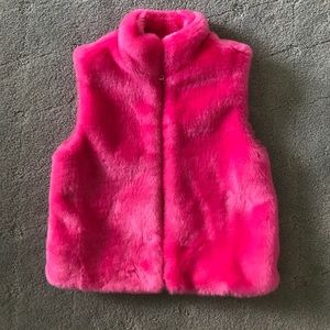 Girls hot pink faux fur vest