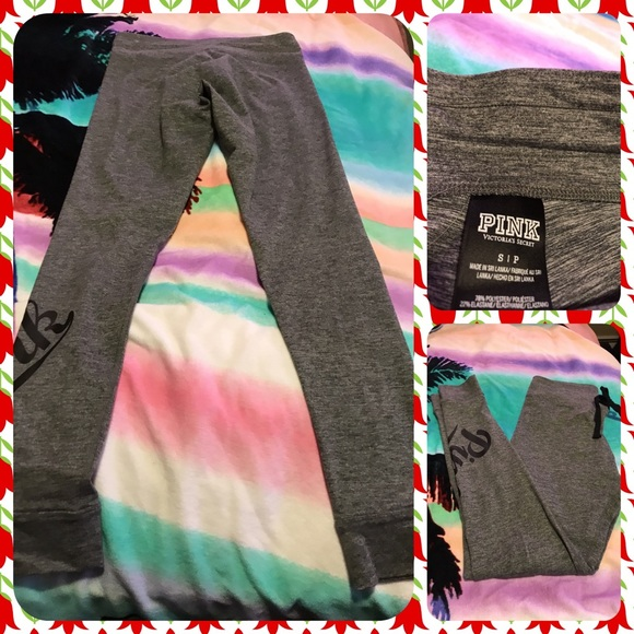2b74cefc8c249 Like New Pink Victoria's Secret Gray Joggers