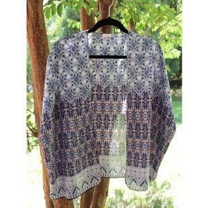 Nordstrom Blue & Red Printed Kimono