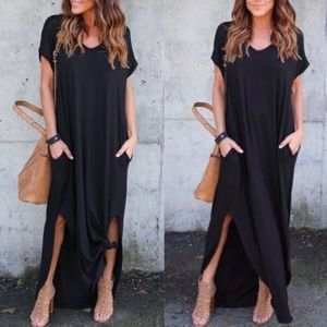 CHARLIZE solid boho dress - BLACK