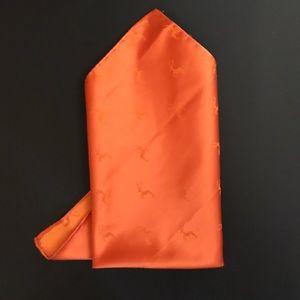 New men's orange handkerchief  100% silk