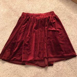 Garage red/maroon velvet skirt