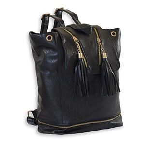 Handbags - Faux Leather Backpack With Tassels