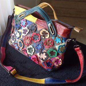 HESHE multi colored leather purse/cross body