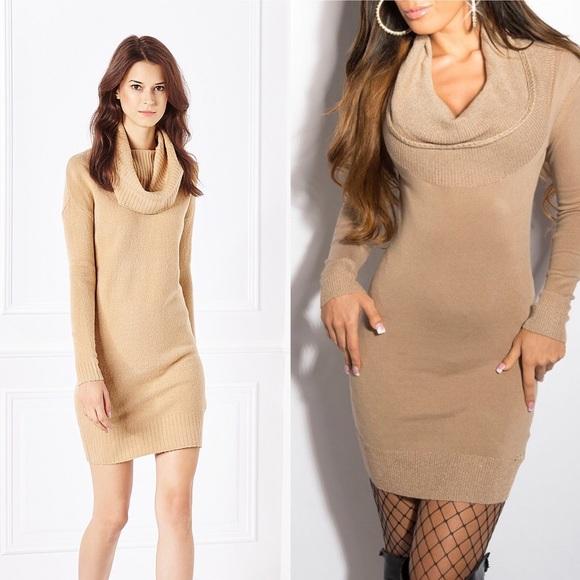 63% off H&M Dresses & Skirts - H&M Light brown Cowl-Neck sweater ...