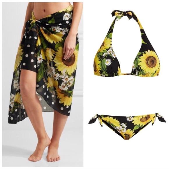 dc805dc611d04 Dolce & Gabbana Swim | Dolce Gabbana Sunflower Polkadot Bikini Set ...