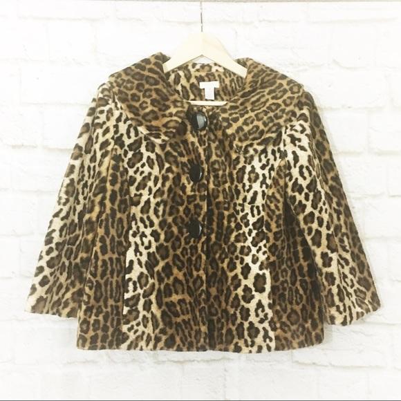 8337e8e1031b chicos Jackets & Coats   Leopard Cropped Retro Faux Fur Swing Jacket ...