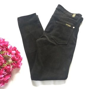 7FAM Black Faux Suede Classic Skinny Jeans