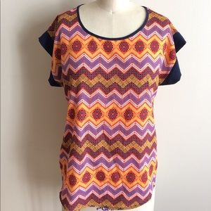 Super cute Abstract Print Navy Orange Blouse!