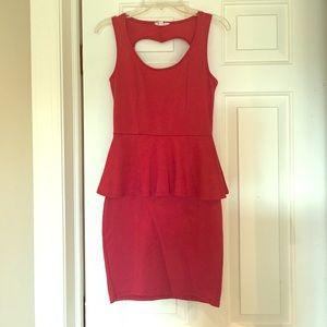 Red peplum bodycon dress