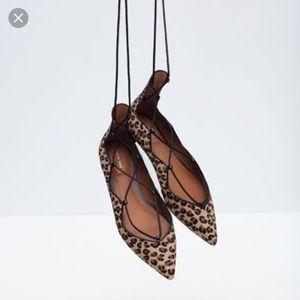 Zara Leonard ballerina lace up flats