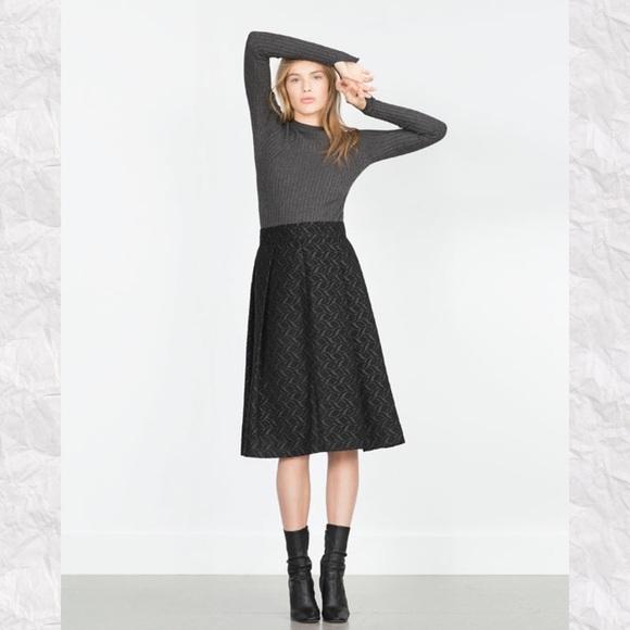 99a77d511 Zara Skirts | Textured Pleated Midi Skirt | Poshmark