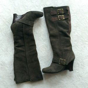 Naughty Monkey brown suede wedge boots