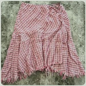 *CLEARANCE Pink Houndstooth Asymmetrical Hem Skirt