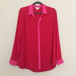 Charming Charlie Red & Pink Blouse Sz XL