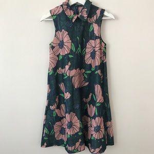 H&M floral vintage 70s collared skater dress