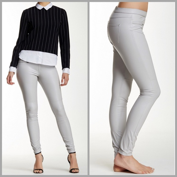 9db72dc06c418c HUE Pants | Platinum Leatherette Faux Leather Leggings | Poshmark