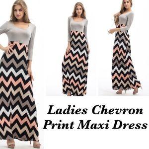 Dresses & Skirts - Chevron Stripe Long Sleeve Maxi Dress, XL