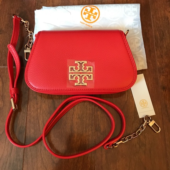 4eab0a2901f TORY BURCH BRITTEN MINI CROSSBODY BAG  CLUTCH RED