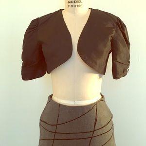 Jackets & Blazers - Vintage Satin Black Bolero