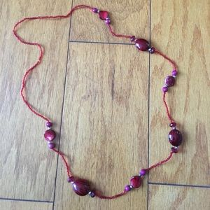 Jewelry - Red long beaded necklace