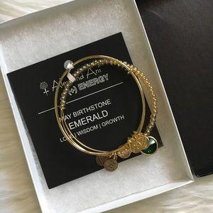 NEW Alex + Ani Emerald Birthstone Bangle Set