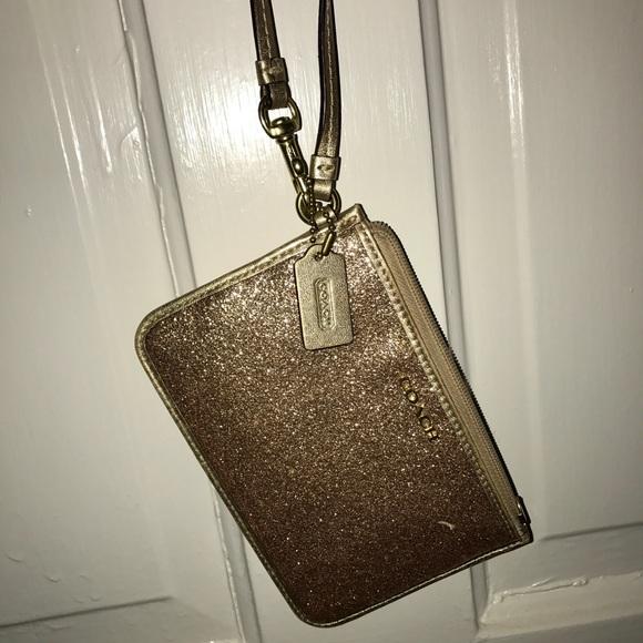 Coach Handbags - Glitter Gold COACH Wristlet!