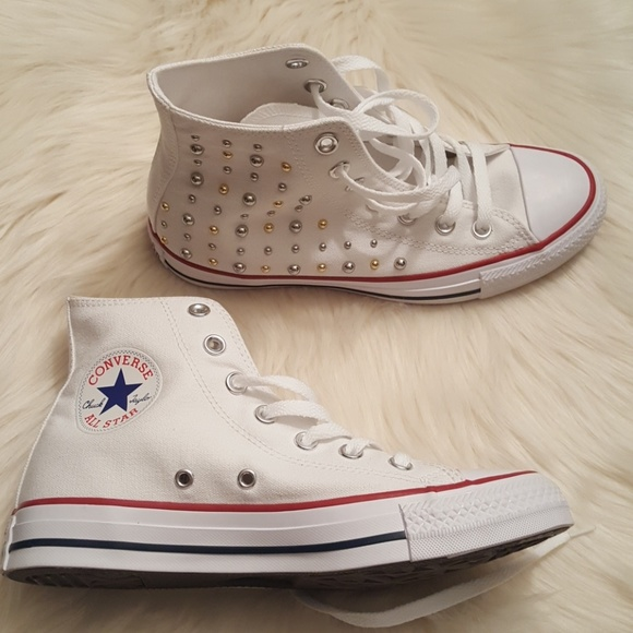 6ec8cb905b01 CONVERSE All Star white studded high top sneakers