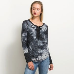 Tie Dye Lace Up Top