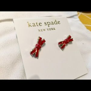 kate spade Jewelry - Kate Spade red bow earrings studs