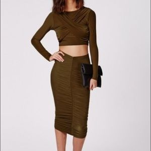 Missguided Slinky Ruched Midi Skirt And Crop Top
