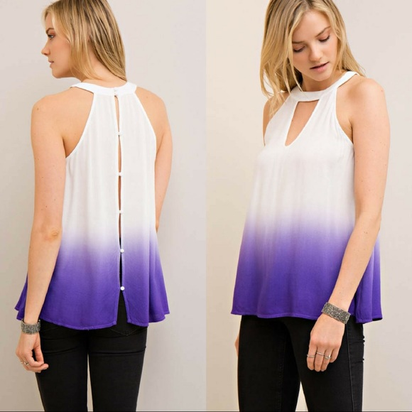 Classic Paper Doll Tops - 🆕Ombre Halter Top with Button-Down Back