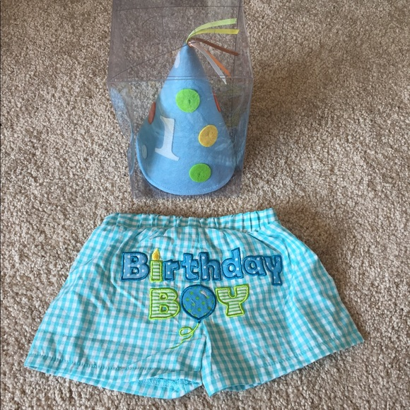 First Birthday Boy Hat Diaper Cover NWOT