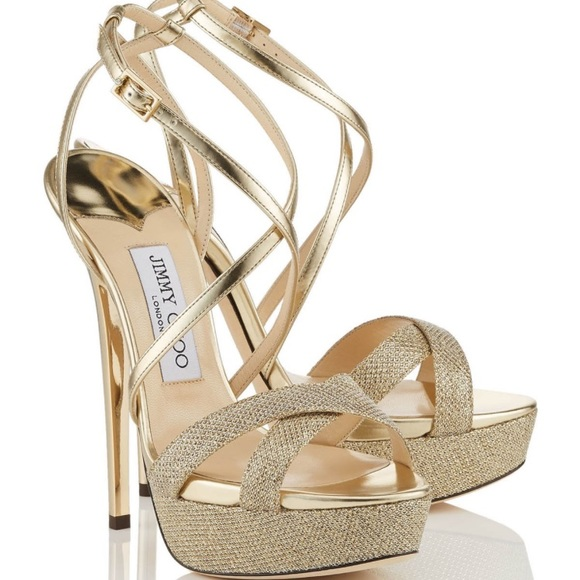 8e12a35a0b7 Brand NEW! Jimmy Choo Liddie | Glitter/Gold Heels NWT