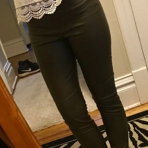 H&M Pants - ARMY GREEN LEATHER PANTS FROM H&M! Size 8.